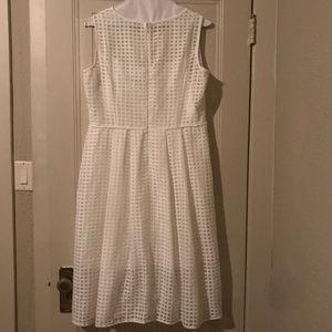 White Sheer Grid-Pattern Cocktail Dress